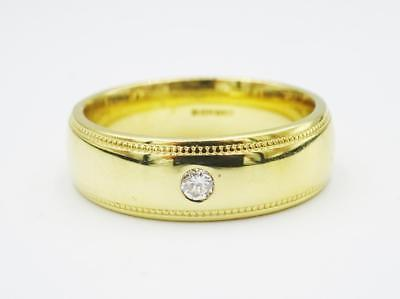 18ct Gold Mens Mill Grain Rub over 0.05ct Diamond Wedding Band Size P 9.1g - Richard Miles Jewellers
