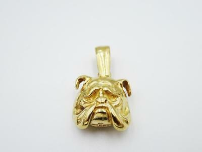 9ct Yellow Solid Gold Heavy Weight Bull Dog Head Face Pendant 6.6g 16mm RRP £250 - Richard Miles Jewellers