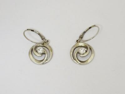 Silver Fancy Cubic Zirconia Swirl Ladies French Clip Earrings 3.8g 14mm - Richard Miles Jewellers