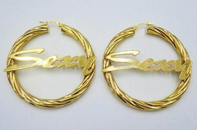 9ct Yellow Gold 375 Hall Marked 'Sexy' Ladies Twist Hoop Earrings 48mm 4.5mm - Richard Miles Jewellers