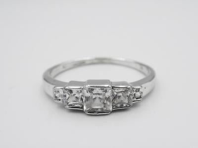 9ct White Gold Square CZ Graduated Half Eternity Ring Size N 1/2 2g 4.5mm - Richard Miles Jewellers