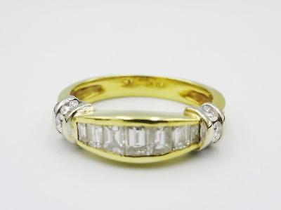 18ct Yellow Gold Ladies 0.55ct Diamond Baguette Half Eternity Ring Size J 1/2 4g