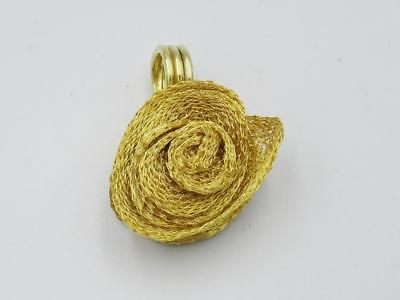 14ct Gold Ladies Rose Design Mesh Pendant 5.6g 21mm UK Hallmarked - Richard Miles Jewellers