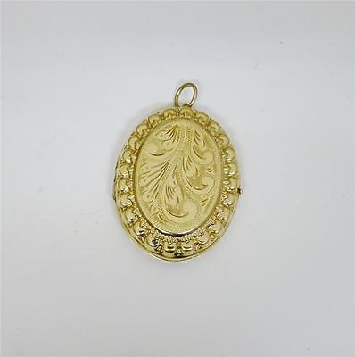 9ct Yellow Gold Large Locket with engraved  Floral Design 7grams RRP£355 - Richard Miles Jewellers