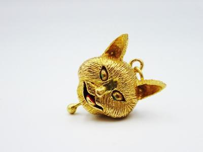 9ct Yellow Gold Large Moving Eyes and Mouth Cat Unique Pendant Charm 7g 22mm