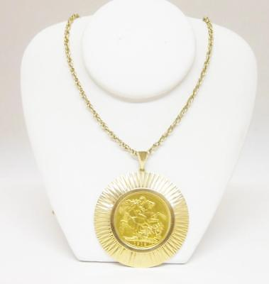 22ct Yellow Gold 1912 St George Pendant With 9ct Gold Fancy 24 Inch Chain 18g