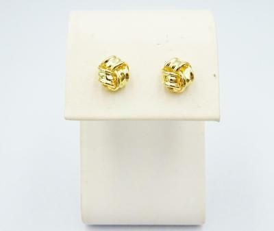 9ct Yellow Gold Ladies 3 Row Knot Style Stud Earring 8mm