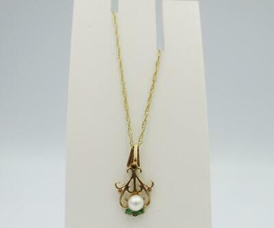 9ct Yellow Gold Emerald Cultured Pearl Fancy Ladies Fine Necklace 1.4g 18inch - Richard Miles Jewellers