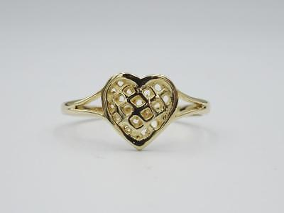 9ct Yellow Gold 375 Ladies Open Fretted Heart Ring size O 1.4g - Richard Miles Jewellers