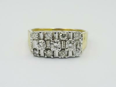 18ct Yellow Gold Barked Shoulder 0.70ct Diamond 3 Row Fancy Cluster 5.8g Size Q