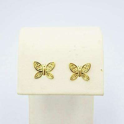 9ct Yellow Gold Ladies Butterfly Shaped Stud Earrings 9mm