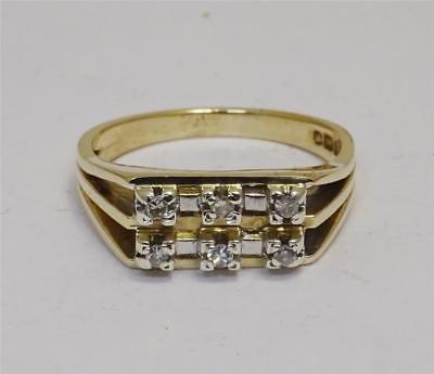 9ct Yellow Gold Ladies Vintage Diamond Ring Size M 0.15ct 3.7g - Richard Miles Jewellers