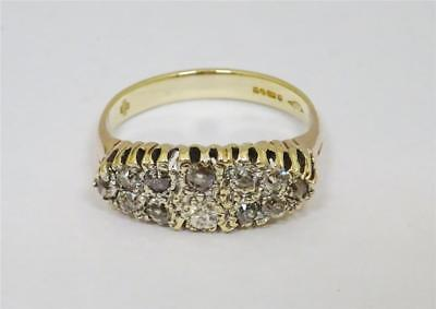 9ct Yellow Gold Ladies Old Cut Diamond Vintage Cluster Ring 0.66ct Size S 4.4g
