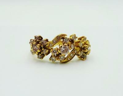 22ct Asian Gold CZ Quality Detail Flower Design Dress Ring Size J 3g 18 x 8.6mm - Richard Miles Jewellers
