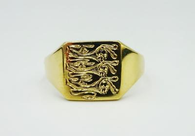 9ct Yellow Gold England 3 Lion Engraved Heavy Men's Signet Ring U 5.2g RRP £235