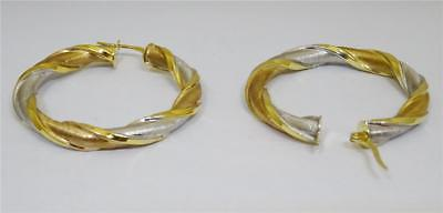 9ct 2 Colour Gold Twisted Shape Hollow Hoop Earrings 3.3g 37.50mm