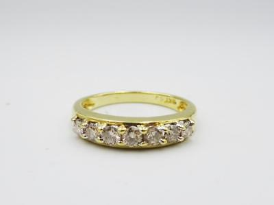 18ct Yellow Gold 7 Stone Claw Set Half Eternity 0.45ct Diamond Ring Size L 3.2g