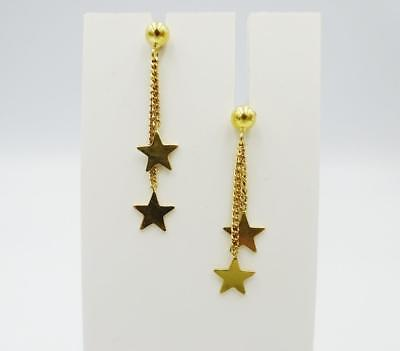 18ct Yellow Gold Unique Drop Style Double Star  Quality Studs 29mm 2.4g RRP £140