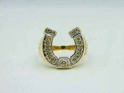 9ct Yellow Gold Horse Shoe Style 375 Hall Mark CZ Large Ring 6.36g 16mm Size V