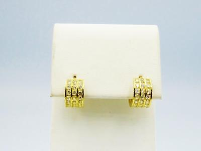 9ct Yellow Gold Small 3 Row CZ Cuff Huggie Ladies Earring 6.8mm 1.4mm