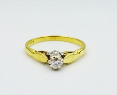 18ct Yellow Gold Ladies Claw Set CZ Single Stone Engagement Ring 2.3g Size M