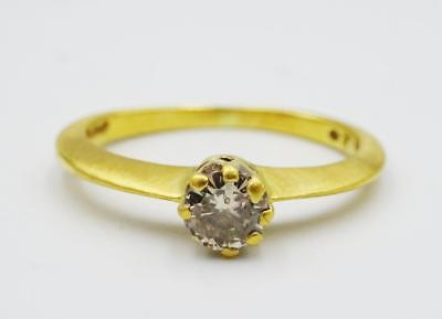 18ct Yellow Gold Single 0.20ct SI1 H Diamond Stone Engagement Ring 2.4g I 1/2