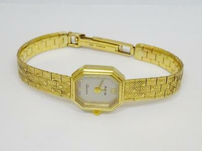 9ct Solid Yellow Gold Avia Ladies Octagonal Watch 6.75 inch 18.4g New Battery