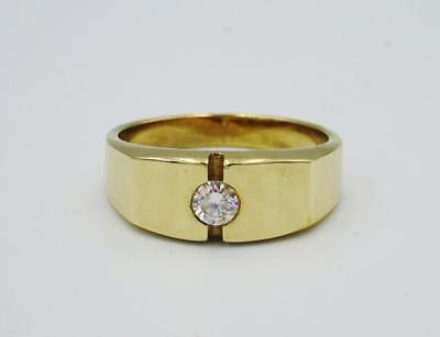 9ct Yellow Gold Quality Mens Single 0.20ct Diamond Signet Ring Size Q 6g - Richard Miles Jewellers