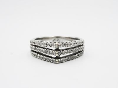 18ct White Gold Three Row Fancy Ladies 0.85ct Diamond Ring N 1/2 6.3grams