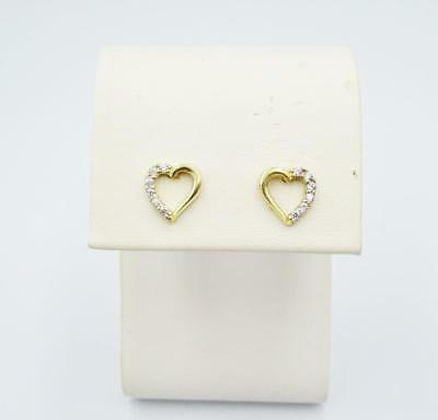 9ct Yellow Gold Ladies Half Cubic Zirconia Heart Stud Earrings 8mm - Richard Miles Jewellers