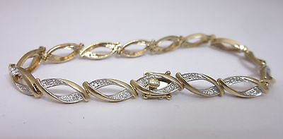 9ct Yellow Gold Diamond Ladies  Dress Bracelet 7.0 Inches - Richard Miles Jewellers