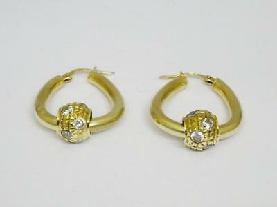 9ct Yellow Gold CZ Ball Earring For Ladies 5.8g 26mm - Richard Miles Jewellers