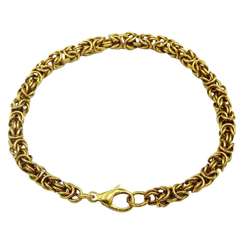 9ct Yellow Gold Fancy Quality Intricate Byzantine Bracelet 7.5inch 12.9g