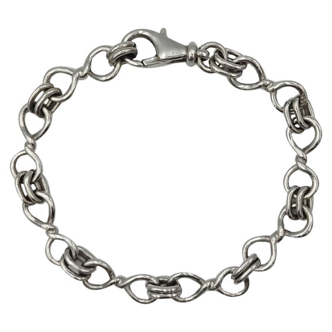 9ct White Gold Figure 8 Double Link Ladies Bracelet 14.8g 7.2inch - Richard Miles Jewellers