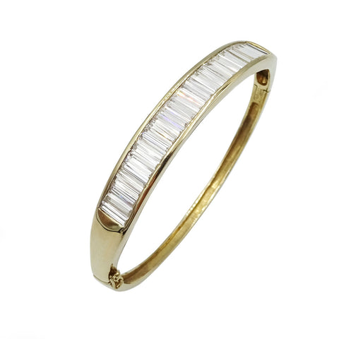 9ct Yellow Gold Baguette Cut Cubic Zirconia Bangle 16g - Richard Miles Jewellers