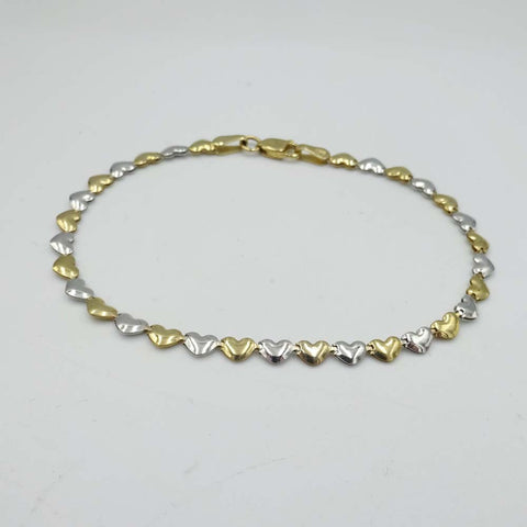 9ct Yellow Gold 2 Colour Heart Link Bracelet 7.25""