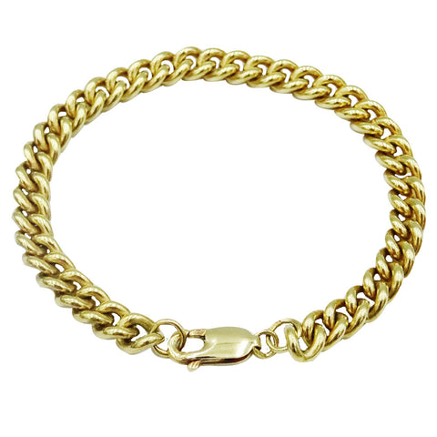 9ct Yellow Gold Ladies Smooth Heavyweight Close Curb Bracelet 7.25inch 20.6g