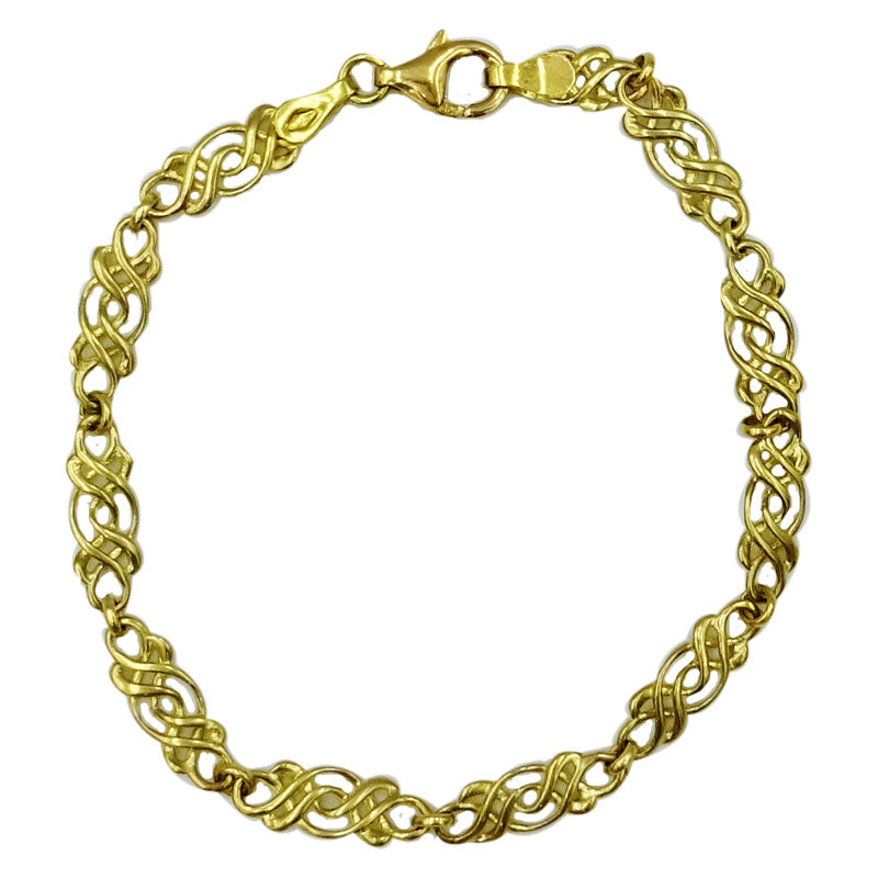 9ct Yellow Gold 375 Hall MarkedCeltic Scroll Ladies Bracelet 7.25inch 5.2g