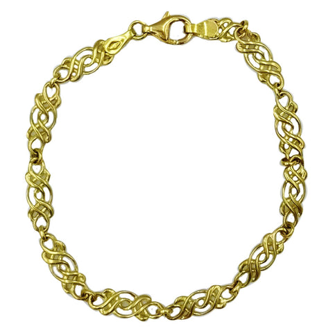 9ct Yellow Gold 375 Celtic Scroll Ladies Bracelet 7.25inch 5.2g