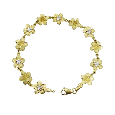 9ct Yellow & White Gold Flower Chain Ladies Bracelet 6g - Richard Miles Jewellers