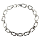 9ct White Gold Oval Linked Smooth Ladies Bracelet 7.5inch 11.2g - Richard Miles Jewellers