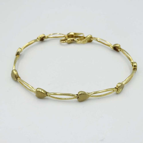 9ct Yellow Gold Heart Link Bracelet 7""
