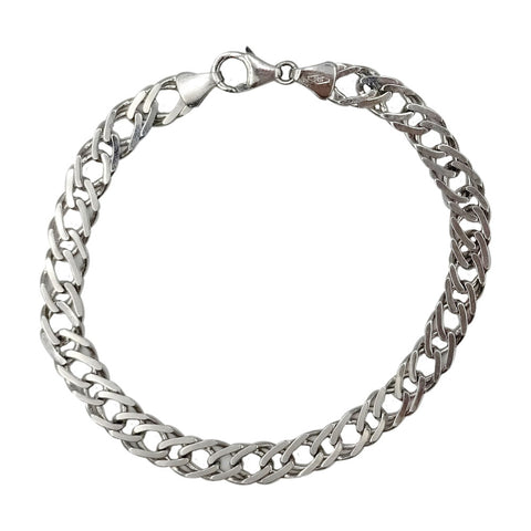 9ct White Gold 375 Fancy Curb Double Linked Ladies Bracelet 6.9g 7.25inch - Richard Miles Jewellers