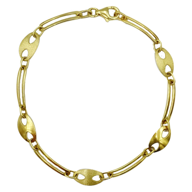9ct Yellow Gold Satin Oval Matt Shiny Smooth Ladies Bracelet 7inch 4g