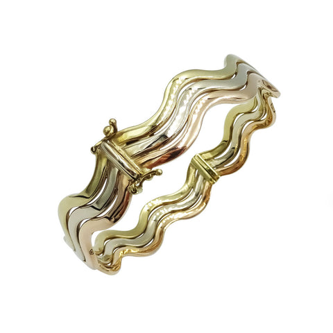 9ct 3 Colour Gold Triple Wave Bangle 20.5g - Richard Miles Jewellers