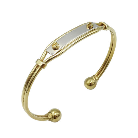 9ct 2 Colour Torque Bangle with ID Plate 15.9g - Richard Miles Jewellers