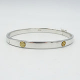 9ct White Gold Screw Design Hinge Bangle 8.3g - Richard Miles Jewellers