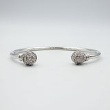 9ct White Gold Cubic Zirconia Ball Torque Style Bangle 18g - Richard Miles Jewellers