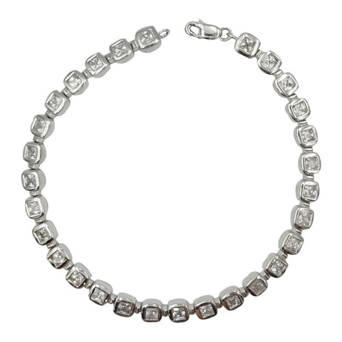 9ct White Gold Square Rub Over Ladies Cubic Zirconia Tennis Bracelet 7.5inch - Richard Miles Jewellers