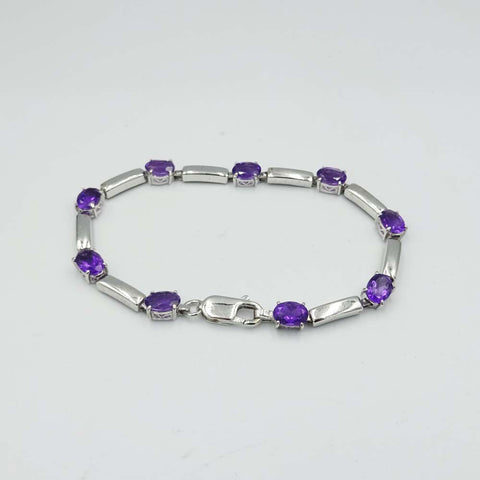9ct White Gold and Amethyst Bar Link Bracelet 7.5""